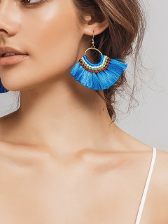 Ethnic Braid Circle Tassel Hook Earrings - Blue