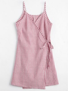 Cami Striped Wrap Dress - Red L