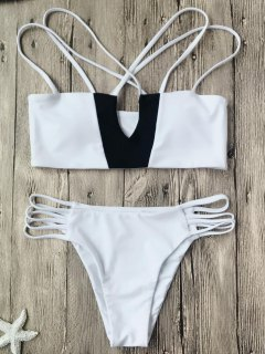 Two Tone Strappy Bikini Top And Bottoms - White And Black S