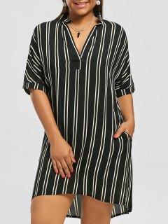 Plus Size High Low Stripe Shirt Dress - Black 5xl