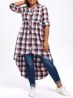Plus Size Plaid High Low Shirt - 5xl