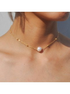 Faux Pearl Collarbone Necklace - Golden