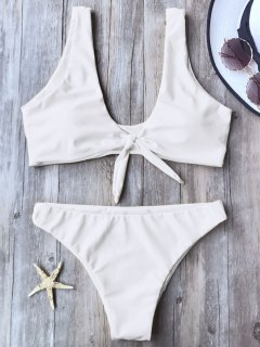 Knotted Scoop Bikini Top And Bottoms - White S