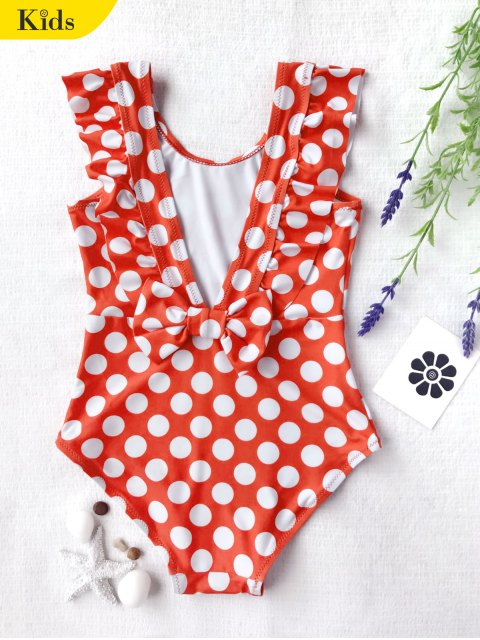 shop Polka Dot Ruffle Kids One Piece Swimsuit - WHITE AND RED 6T Mobile