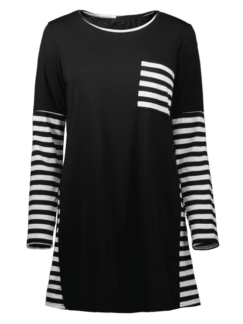 ladies Contrasting Stripe Long Sleeve T-Shirt Dress - BLACK L Mobile