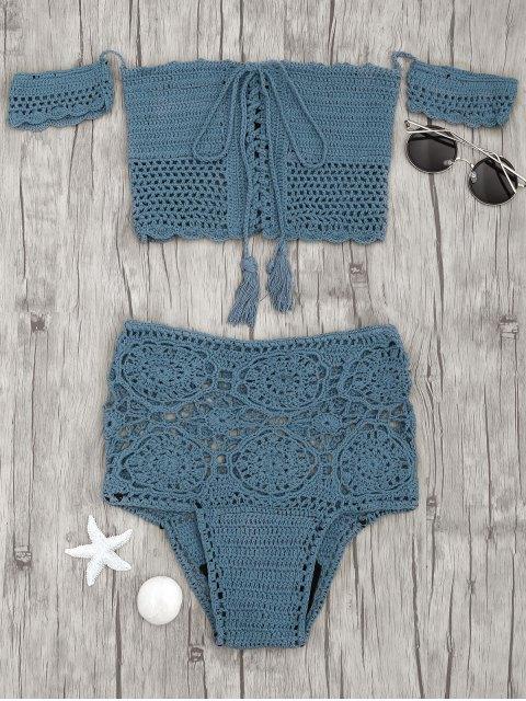 Bikini à croix haute taille épaulière - Bleu canard S Mobile