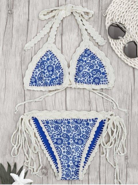unique Paisley Halter Bralette Crochet String Bathing Suit - BLUE L Mobile