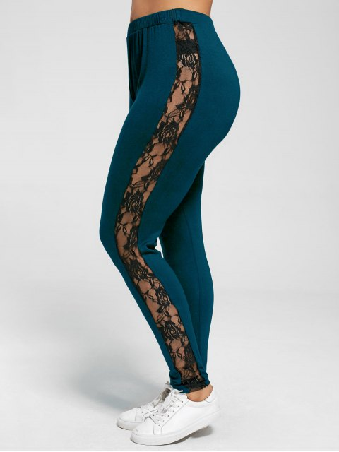 best Plus Size Lace Insert Sheer Leggings - PEACOCK BLUE 3XL Mobile