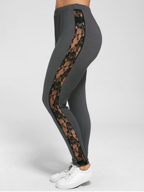 fashion Plus Size Lace Insert Sheer Leggings - DEEP GRAY XL Mobile
