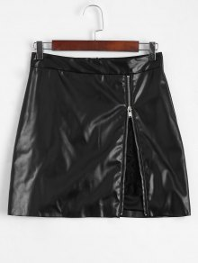 Zip Up Lace Panel Faux Leather Skirt - Black S