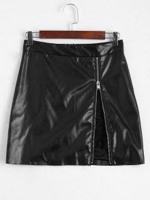 Zip Up Lace Panel Faux Leather Skirt - Black L