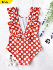 Polka Dot Ruffle Kids One Piece Swimsuit - White And Red 5t