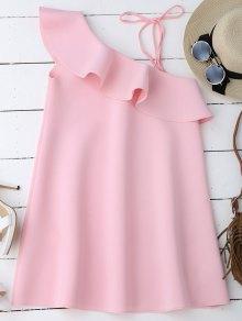 One Shoulder Frill Longline Blouse - Pink Xl