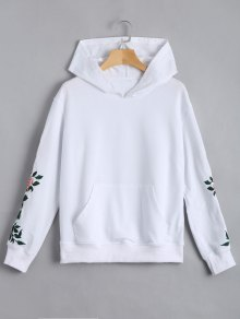Floral Patched Front Pocket Hoodie - White Xl