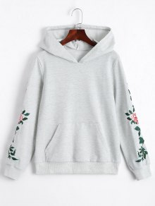 Floral Patched Front Pocket Hoodie - Light Gray S
