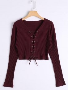 Lace Up Ribbed Knitted Crop Tee - Claret L