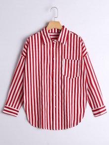 Button Up Drop Shoulder Striped Pocket Shirt - Red Stripe M
