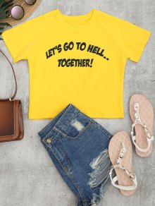 Cotton Cropped Letter Top - Yellow