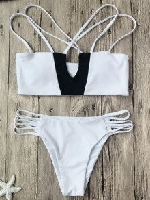 Two Tone Strappy Bikini Top And Bottoms - White And Black