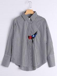 Bird Patched Drop Shoulder Striped Shirt - Black M