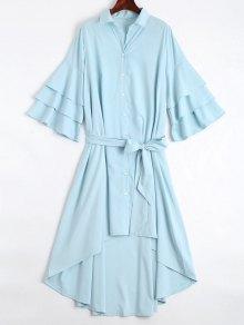 Button Up Belted Flare Sleeve Dress - Light Blue Xl