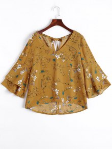 Tiered Flare Sleeve Floral Blouse - Floral Xl