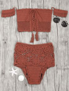 Off Shoulder High Waisted Crochet Bikini - Brick-red M