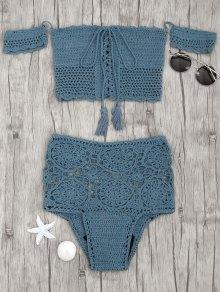 Off Shoulder High Waisted Crochet Bikini - Peacock Blue M