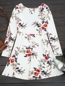 Floral Long Sleeve Skater Dress - White Xl