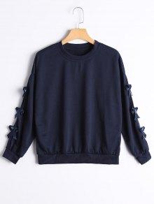 Bowknot Embellished Drop Shoulder Tee - Purplish Blue L