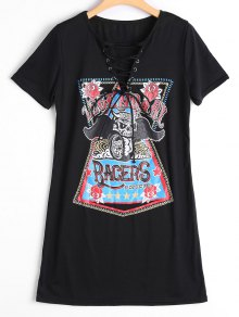 Lace Up Skull Letter Print Shift Dress - Black Xl