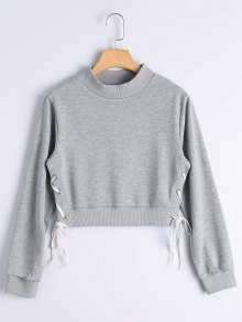 Side Lace Up Crop Sweatshirt - Gray L