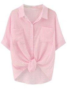 Knotted Striped Pockets Dip Hem Shirt - Pink