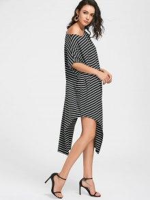 Side Slit One Shoulder Striped Dress - Black M