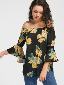 Flare Sleeve Floral Off The Shoulder Blouse - Black M