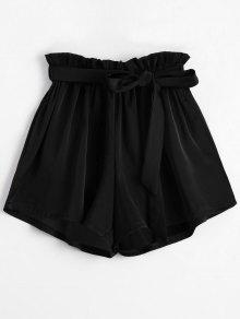 Smocked Belted High Waisted Shorts - Black