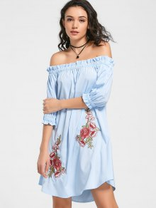 Floral Patched Ruffled Off The Shoulder Dress - Light Blue Xl