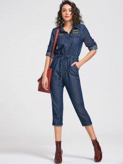 Drawstring Patched Pocket Denim Jumpsuit - Deep Blue L