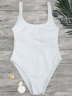 High Cut Textured Scoop One Piece Swimsuit - White S