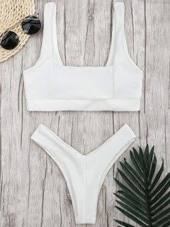 Ribbed Square Neck Thong Bikini - White M
