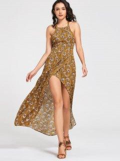 Flower Bowknot Cut Out Maxi Dress - Yellow M