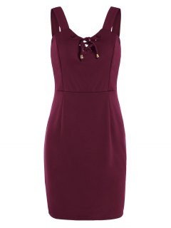 Lace Up Fitted Mini Dress - Deep Red Xl