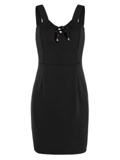 Lace Up Fitted Mini Dress - Black S