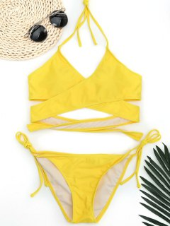 Halter Wrap String Bathing Suit - Yellow L