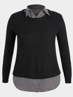 Pullover Stripe Plus Size Sweater - Black 4xl