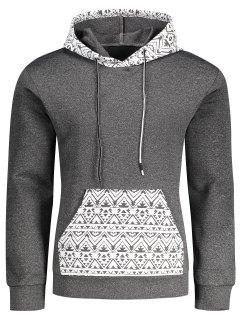 Kangaroo Pocket Tribal Print Pullover Hoodie - Gray L