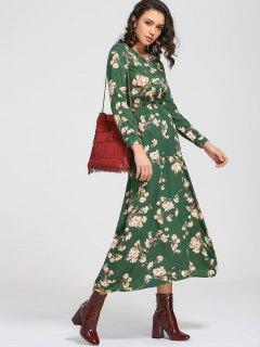 Long Sleeve Buttons Tiny Floral Maxi Dress - Green 2xl