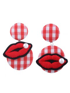 Faux Pearl Lips Embroidery Plaid Earrings - Red