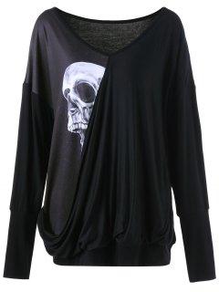 Skull Print Plus Size Drape Tee - Black 5xl