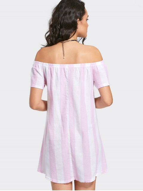 new Off The Shoulder Striped Mini Dress - PINK XL Mobile